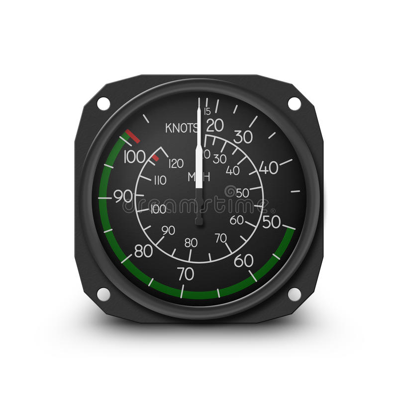 Helicopter gauge - air speed indicator. Air speed indicator of popular small helicopter (Robinson R22) - Instrument from dashboard isolated on white. (raster stock illustration
