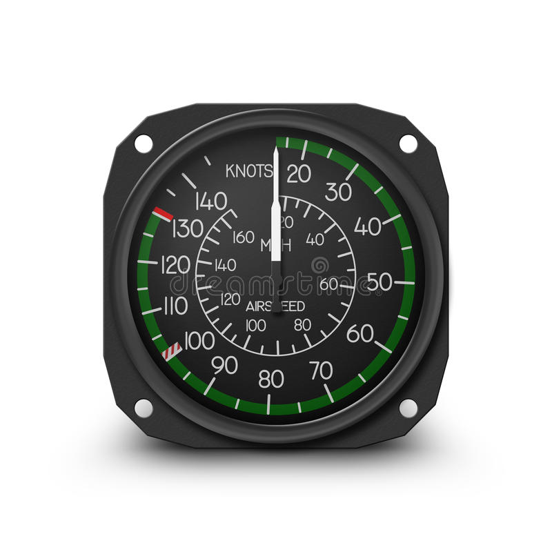 Helicopter gauge - air speed indicator. Air speed indicator of popular small helicopter (Robinson R44) - Instrument from dashboard isolated on white. (raster royalty free illustration
