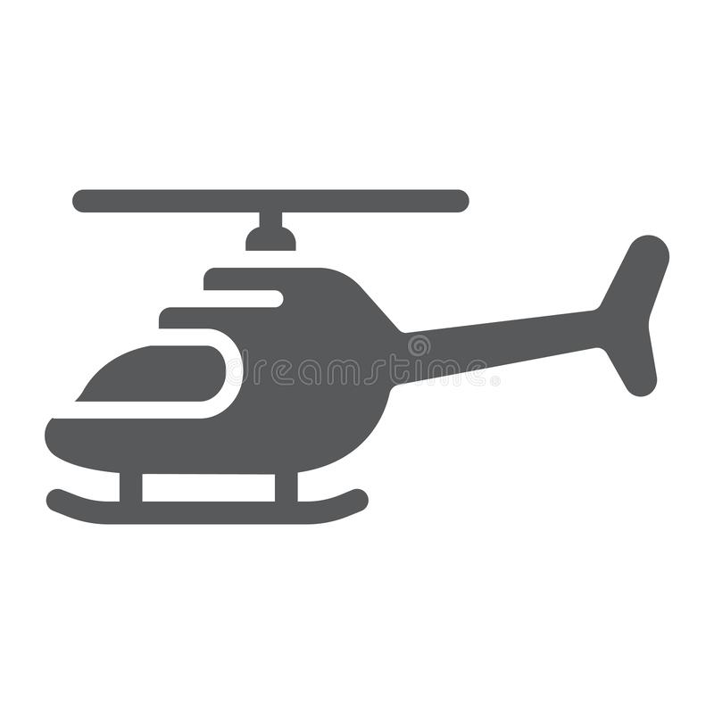 Helicopter glyph icon, transportation and chopper, aircraft sign, vector graphics, a solid pattern on a white background stock illustration