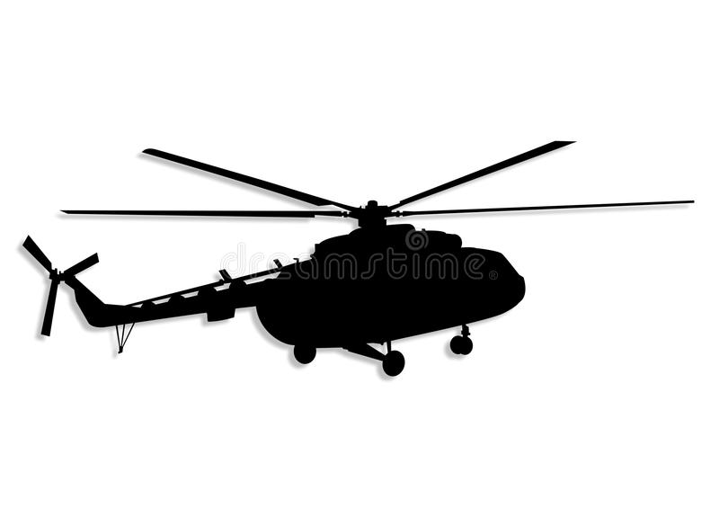 Helicopter icon. Silhouette of a black helicopter on white stock illustration