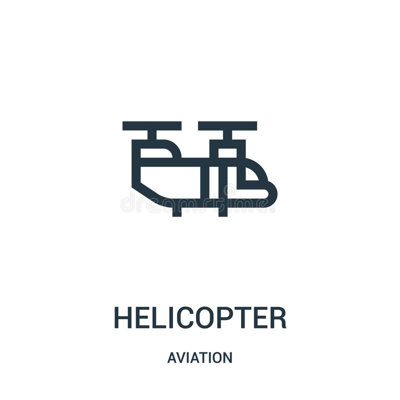 Helicopter icon vector from aviation collection. Thin line helicopter outline icon vector illustration. Linear symbol for use on. Web and mobile apps, logo stock illustration