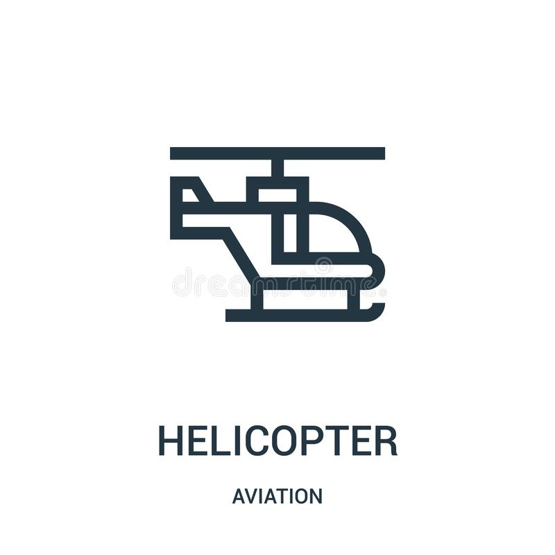Helicopter icon vector from aviation collection. Thin line helicopter outline icon vector illustration. Linear symbol for use on. Web and mobile apps, logo vector illustration