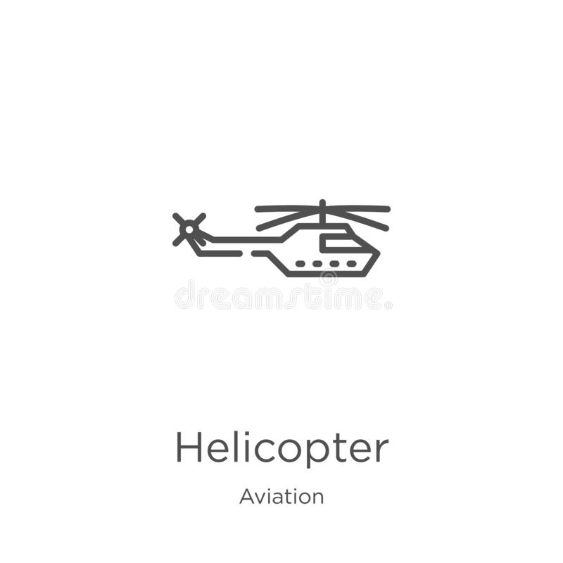 Helicopter icon vector from aviation collection. Thin line helicopter outline icon vector illustration. Outline, thin line. Helicopter icon. Element of aviation stock illustration