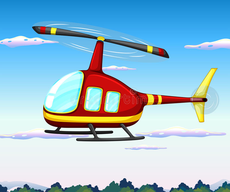 Helicopter. Illustration of a helicopter flying in the sky vector illustration