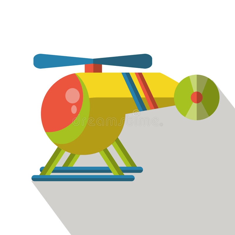 Helicopter illustration. With long shadows vector illustration