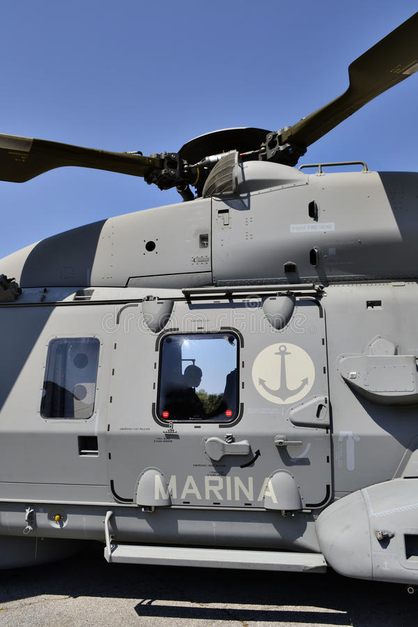 Helicopter Italian navy. Detail of an Italian Marina Militare (Italian Navy) helicopter. The shot was taken on June 24th 2012 in Montignoso (Italy) during the stock photos