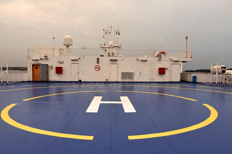 Ferry boat helicopter landing pad. The helicopter landing pad at the upper deck on board a ferryboat stock photos