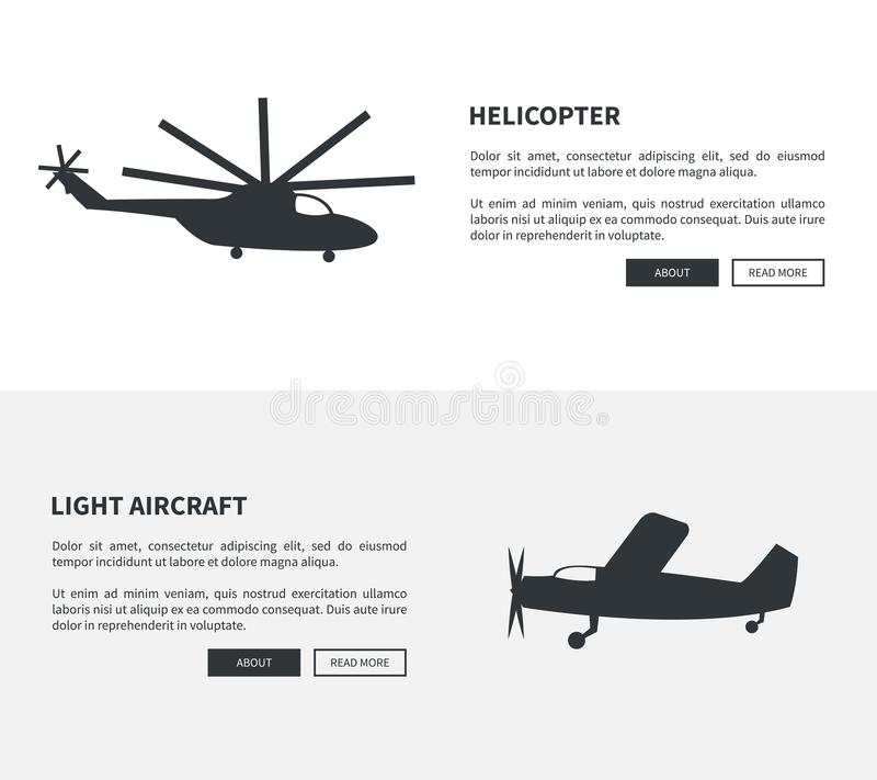 Helicopter and Light Aircraft Set of Black Banners vector illustration