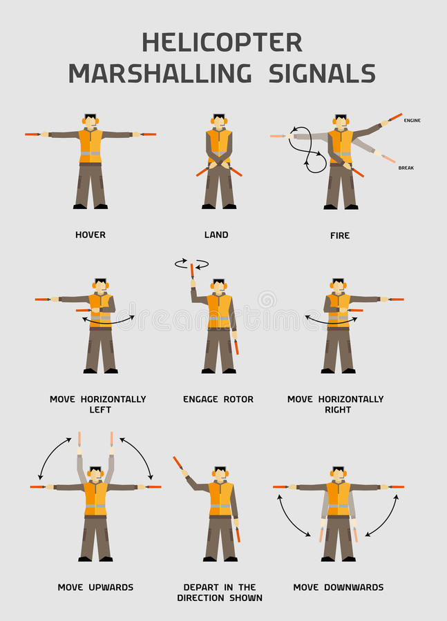 Helicopter marshalling signals royalty free illustration