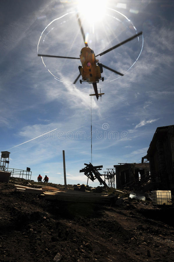 Helicopter Mi 171 with backlighting stock photo