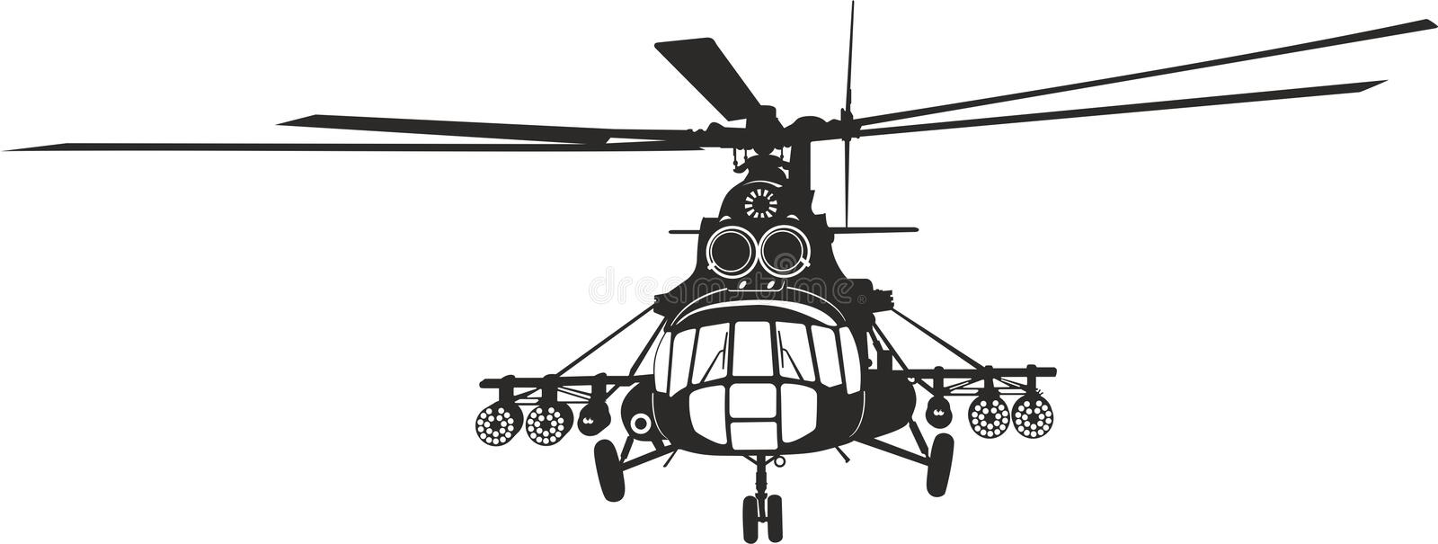 Helicopter Mi-8. The Mi-8 helicopter for cutting plotter (vector) Вертолет Ми-8 stock illustration
