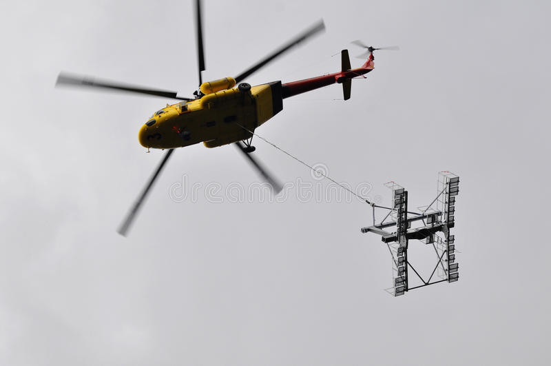 Helicopter mounting (wire-rope pulley battery) stock images