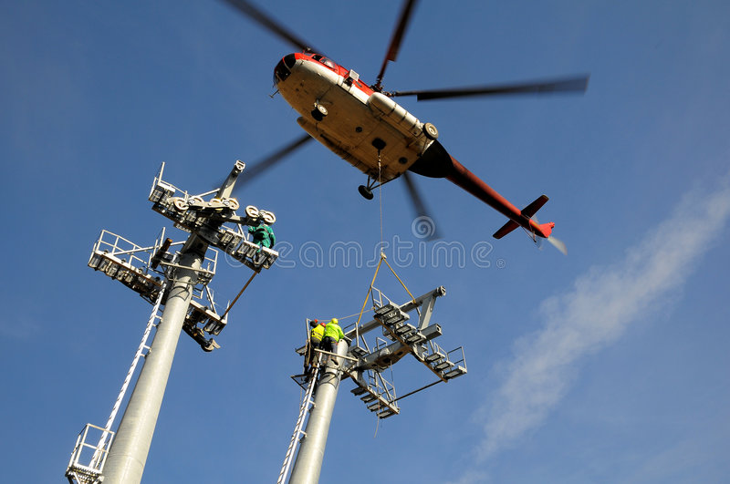Helicopter mounting (wire-rope pulley battery) stock image