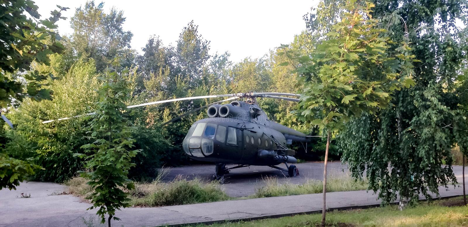 Helicopter from the Museum of military equipment stock photos
