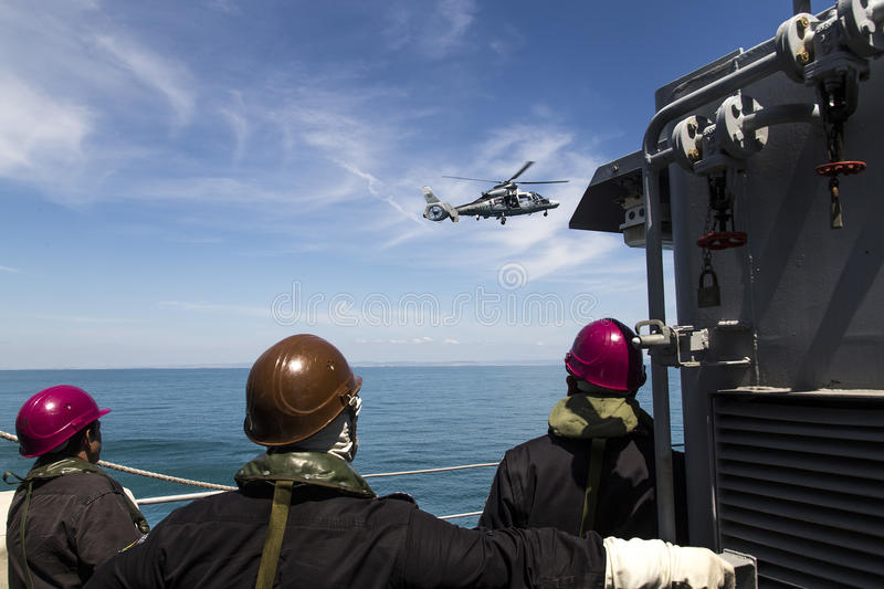 Helicopter navy ship stock photo