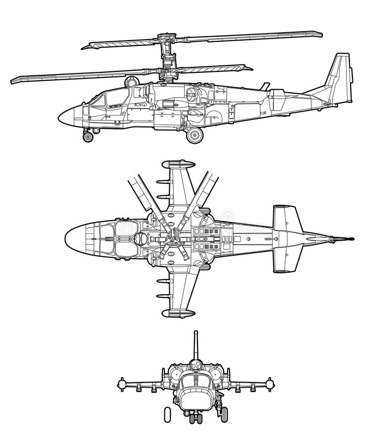 Helicopter. Outline helicopter on white background royalty free illustration