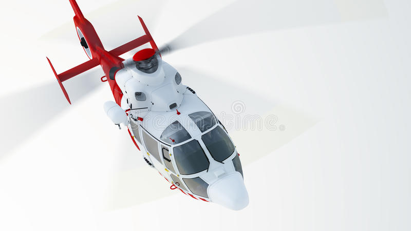 Helicopter. Over blue sky background, front view vector illustration