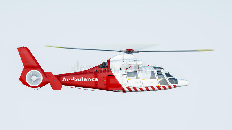 Helicopter. Over blue sky background, side view vector illustration