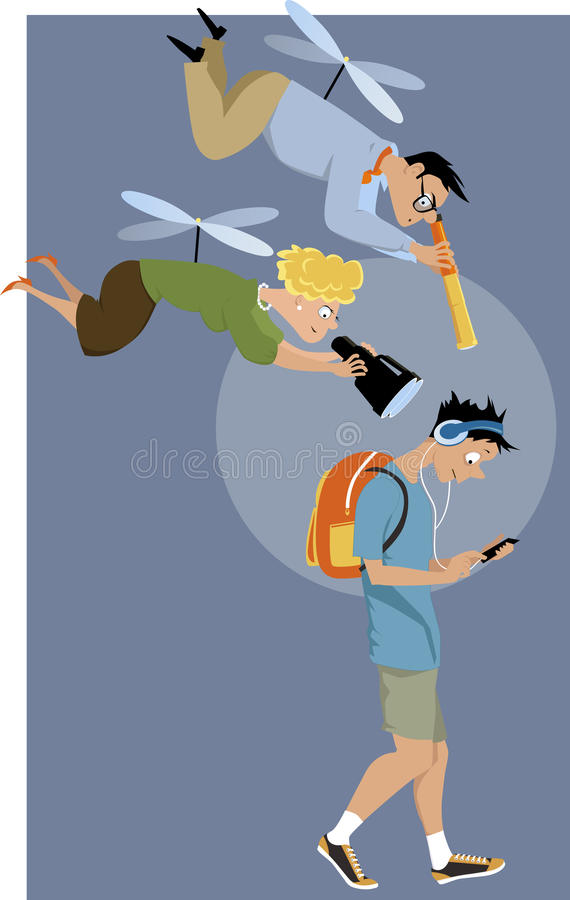 Helicopter parents vector illustration