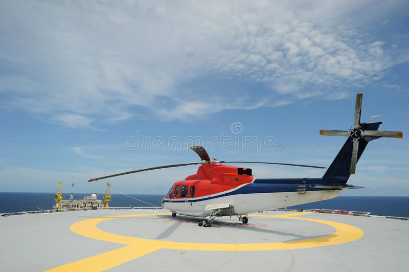 Helicopter parking at offshore stock photo