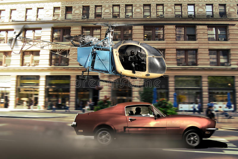 Helicopter pursuit. Helicopter pursuing a car through the streets of Manhattan royalty free illustration