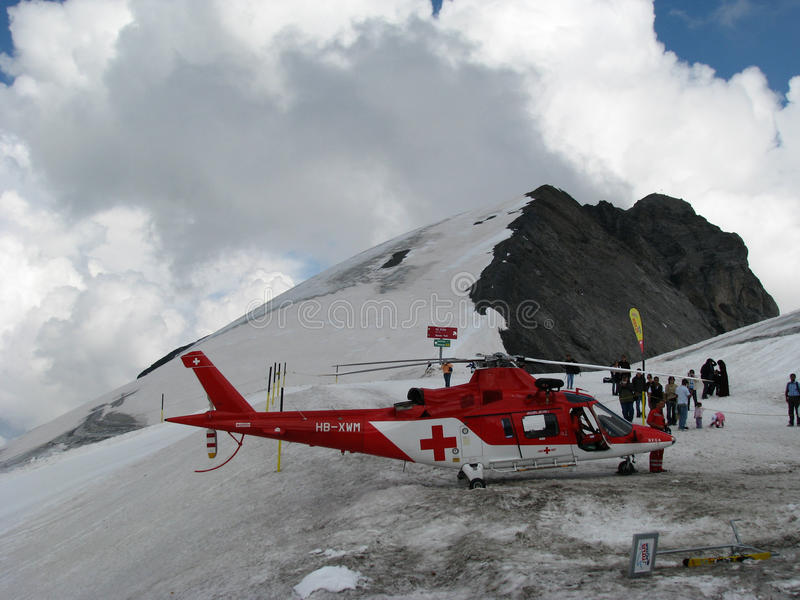 Helicopter rescue on the moutain stock photos