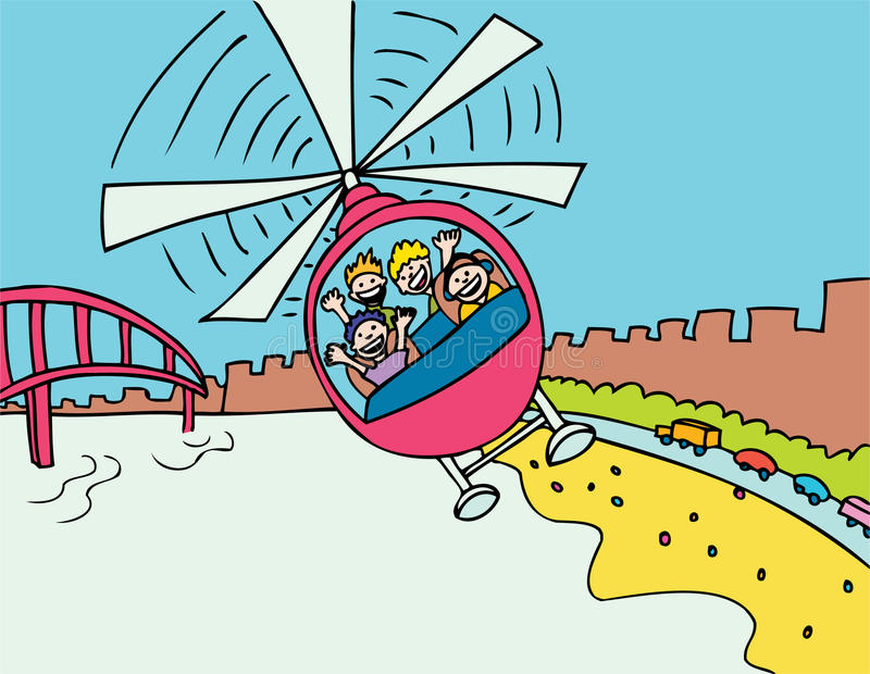 Helicopter Ride. Tourists travel in a helicopter taking in an ariel view of the city vector illustration
