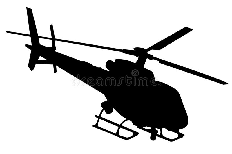 Helicopter silhouette in black isolated on white. Silhouette of a black helicopter icon isolated on white background vector graphic royalty free illustration