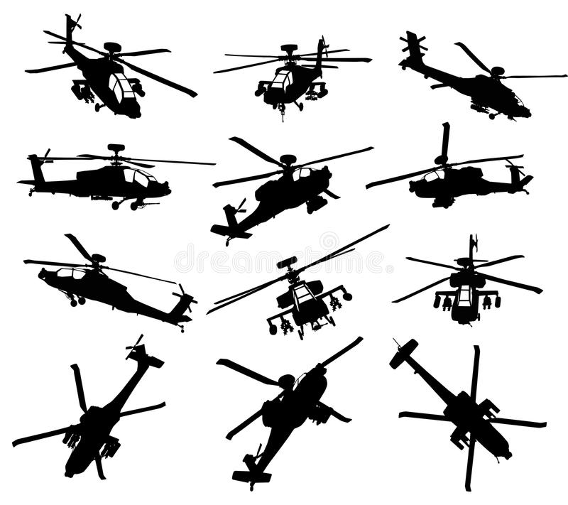 Download Helicopter silhouettes set stock vector. Illustration of outline - 24448455