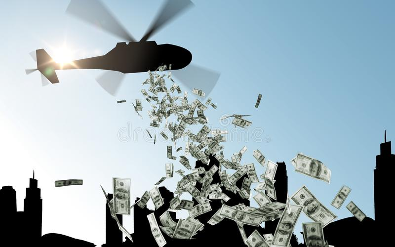 Helicopter in sky dropping money over city royalty free stock image