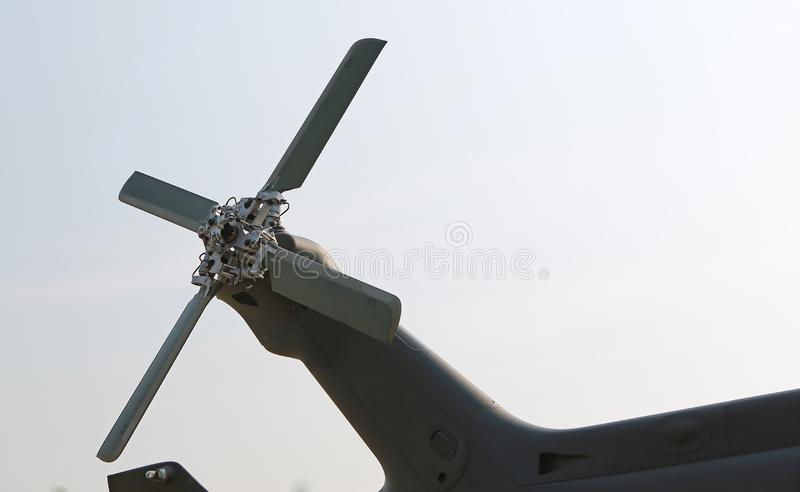 Helicopter tail close up for detail stock photo
