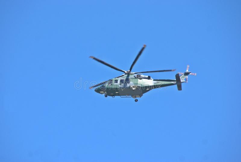 Helicopter used in search task of two yong Ductch woman disappeared in Volcan . Panama. Helicopter of Servicio Aeronaval (Aeronaval Service) used in search tasks stock photo