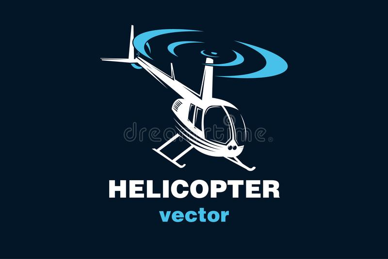 Helicopter vector logo, vector illustration. Helicopter vector illustration or logo, on darck background, isolated, EPS file vector illustration
