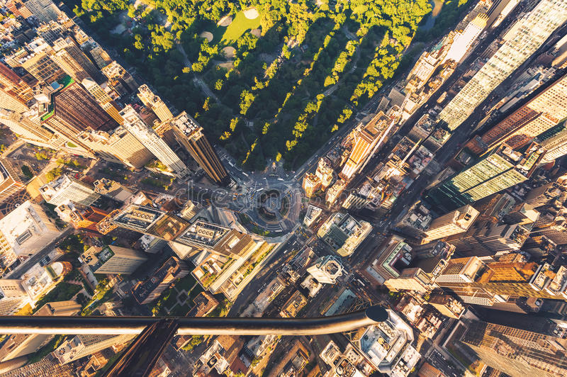 Helicopter view of Columbus Circle and Central Park in New York City royalty free stock photo