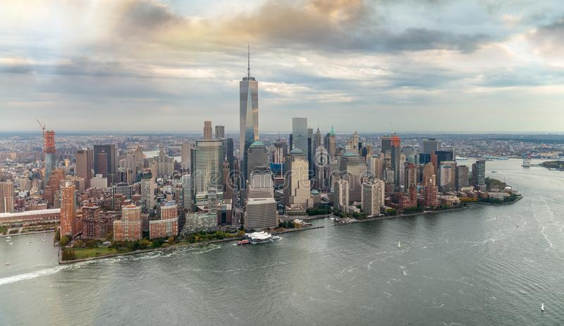Helicopter view of Downtown Manhattan in Autumn stock photo