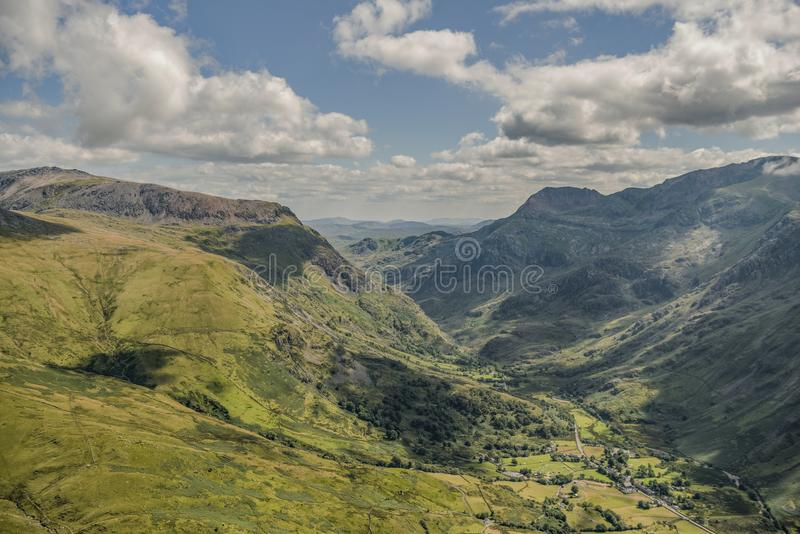 Helicopter view of Llanberis Pass stock photos