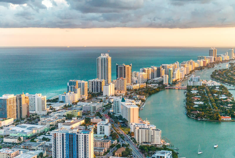 Helicopter view of South Beach, Miami stock photos