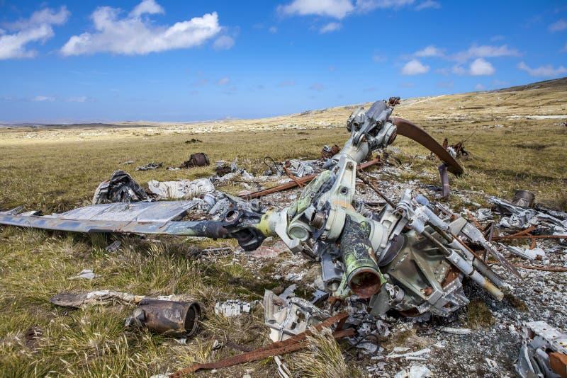Helicoptere Rozbijał w Falkland wyspach zdjęcie stock