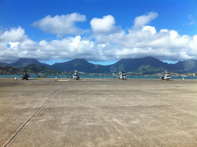 Helicopters in Hawaii royalty free stock photo