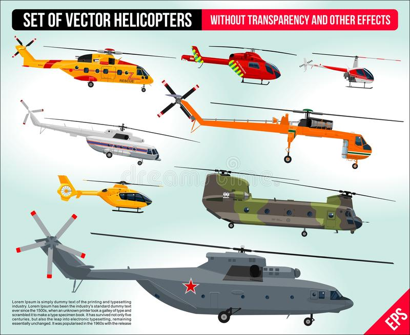 Helicopters set . Civil and army military transport helicopters collection flat design illustration stock illustration