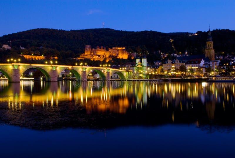 Helidelberg城堡和卡尔Theodor桥梁在海得尔堡,德国 图库摄影