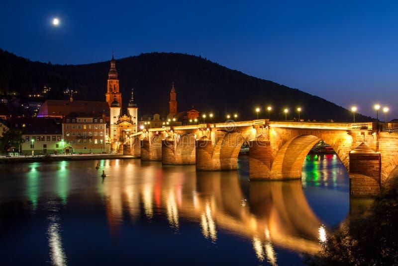 Helidelberg城堡和卡尔Theodor桥梁在海得尔堡,德国 免版税库存照片