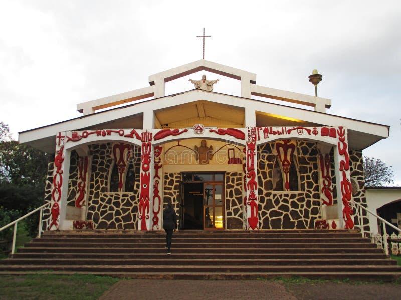 Helig arg kyrka i Hanga Roa, påskö Chile royaltyfri foto