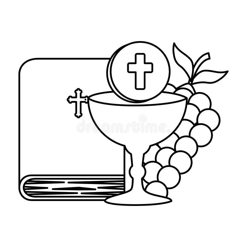Helig bibel med bägaren och druvor royaltyfri illustrationer