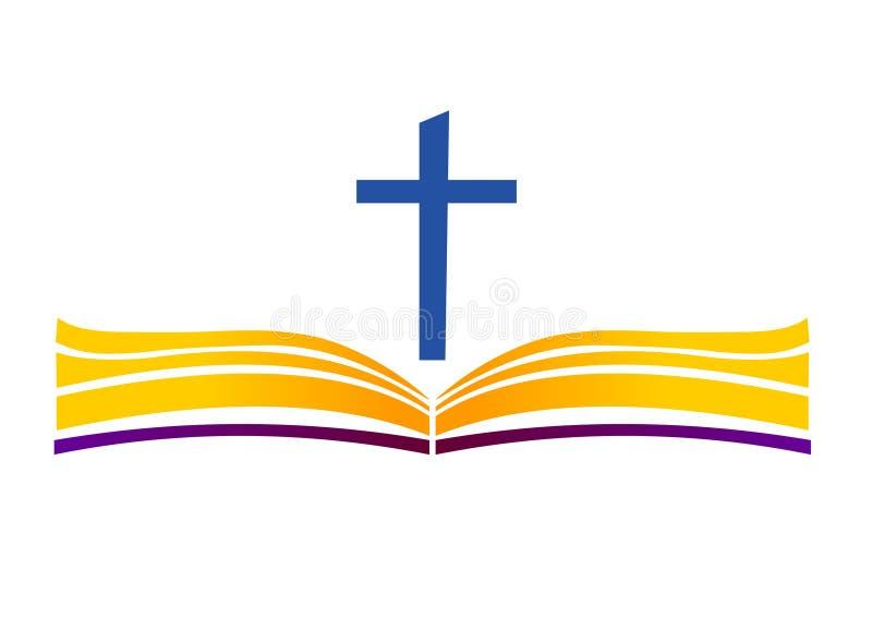 Helig bibel med korset Öppna boken och korsa royaltyfri illustrationer