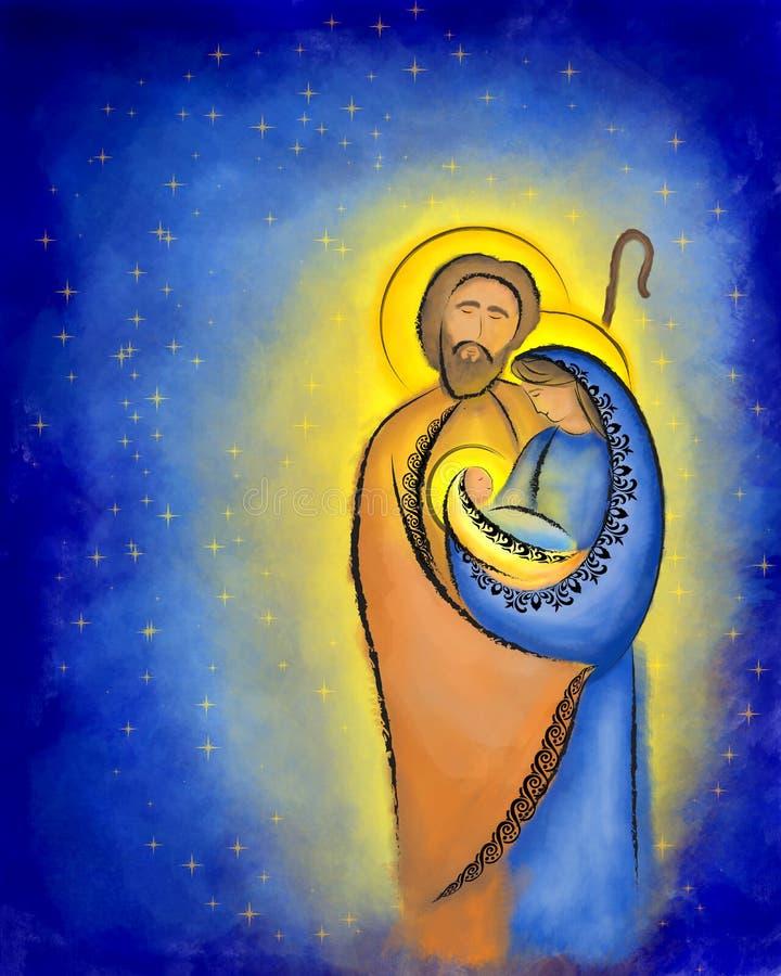 Helig familj Mary Joseph för juljulkrubba och barn Jesus vektor illustrationer