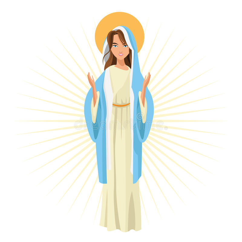 Helig mary religionsymbol som stylized swirlvektorn för bakgrund det dekorativa diagrammet vågr vektor illustrationer