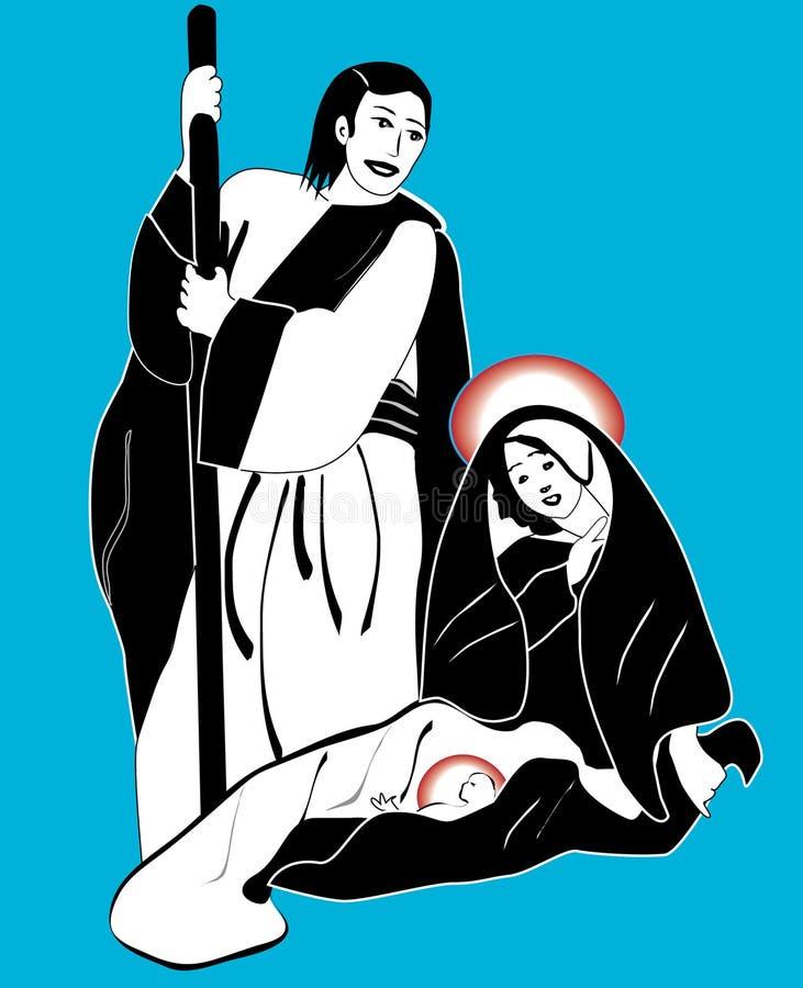 helig nativityvektor för familj stock illustrationer