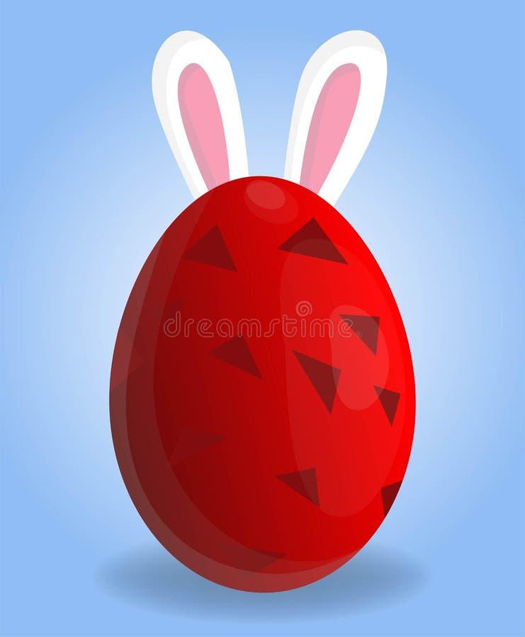 Helig påskferie som hälsar den färgrika vykortet med dekorerade easter ägg och att oavbrutet tjata öron på bakgrund som är stock illustrationer
