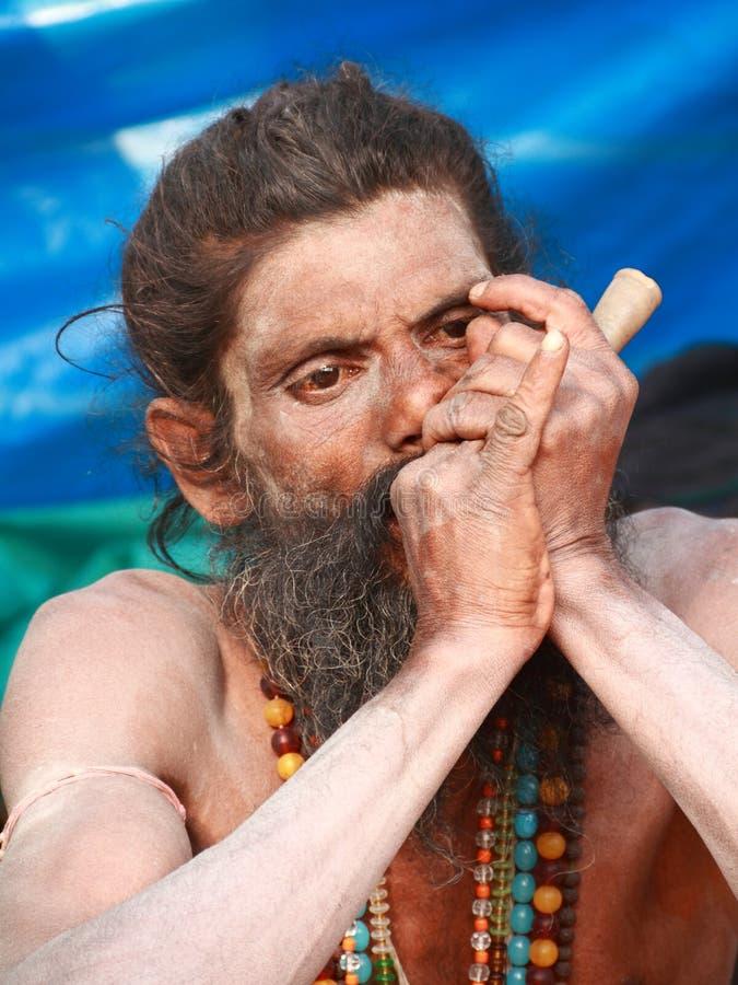 helig sadhu för india mannaga arkivbilder